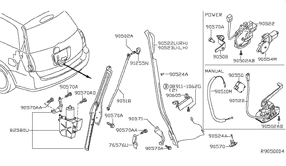 2004 Nissan Quest Back Door Lock & Handle - Nissan Parts Deal