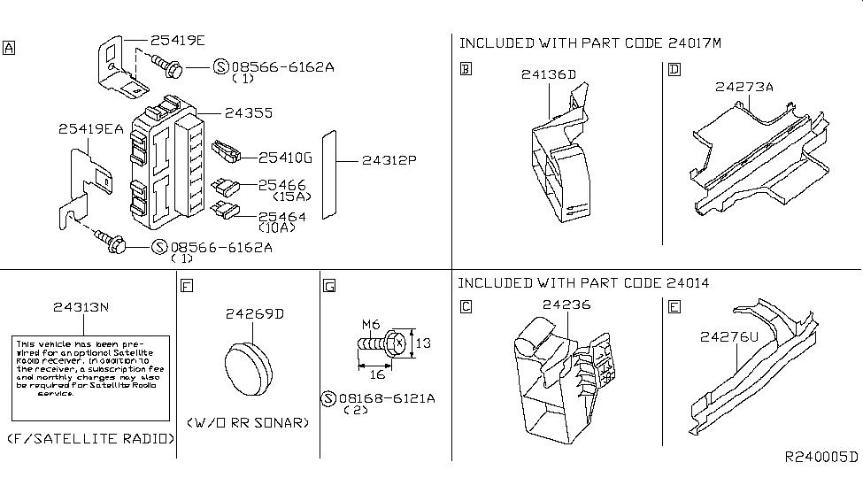 24317 5z010 genuine nissan 243175z010 bracket fuse block. Black Bedroom Furniture Sets. Home Design Ideas
