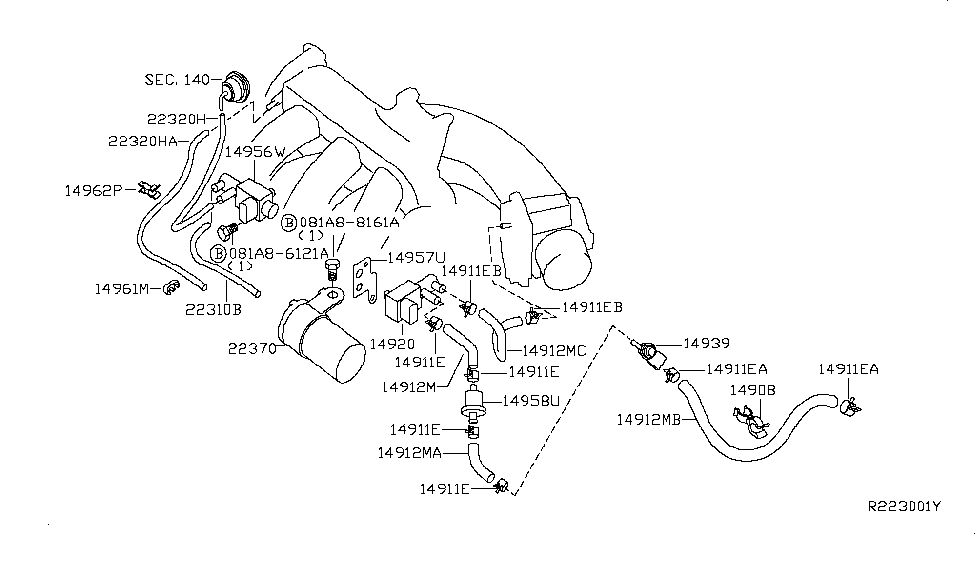 2004 nissan quest engine control vacuum piping - thumbnail 1
