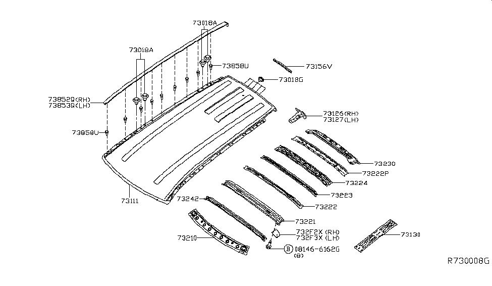 2014 nissan pathfinder hybrid roof panel & fitting