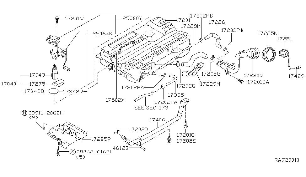 25060 7b026 Genuine Nissan 250607b026 Sender Unit Fuel