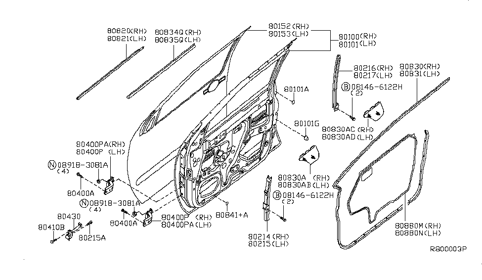 2010 Nissan Pathfinder Front Door Panel & Fitting