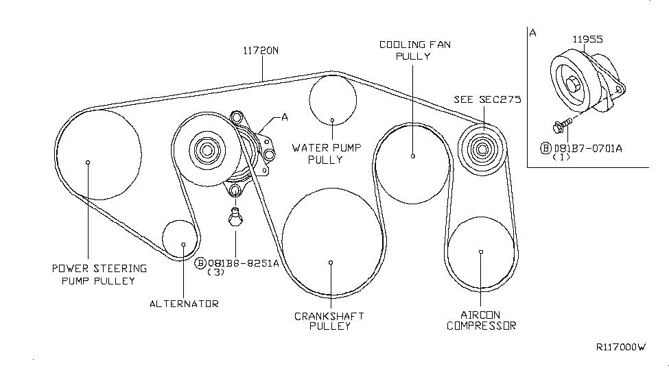 2004 nissan altima serpentine belt diagram 11720 7s00a genuine nissan 117207s00a belt fan   alternator  11720 7s00a genuine nissan