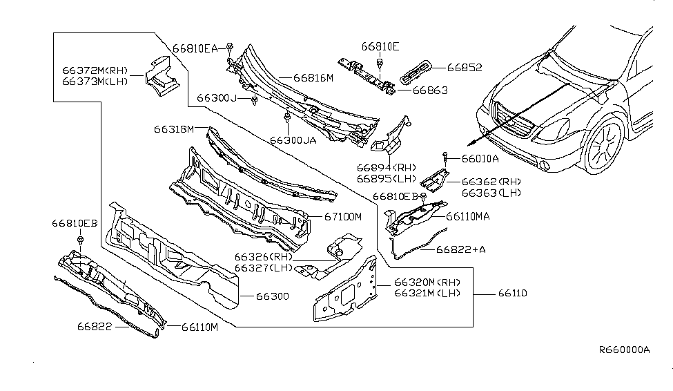 66320 8j030 genuine nissan parts 2006 Nissan Murano Exhaust System Diagram 2003 nissan altima cowl top \u0026 fitting