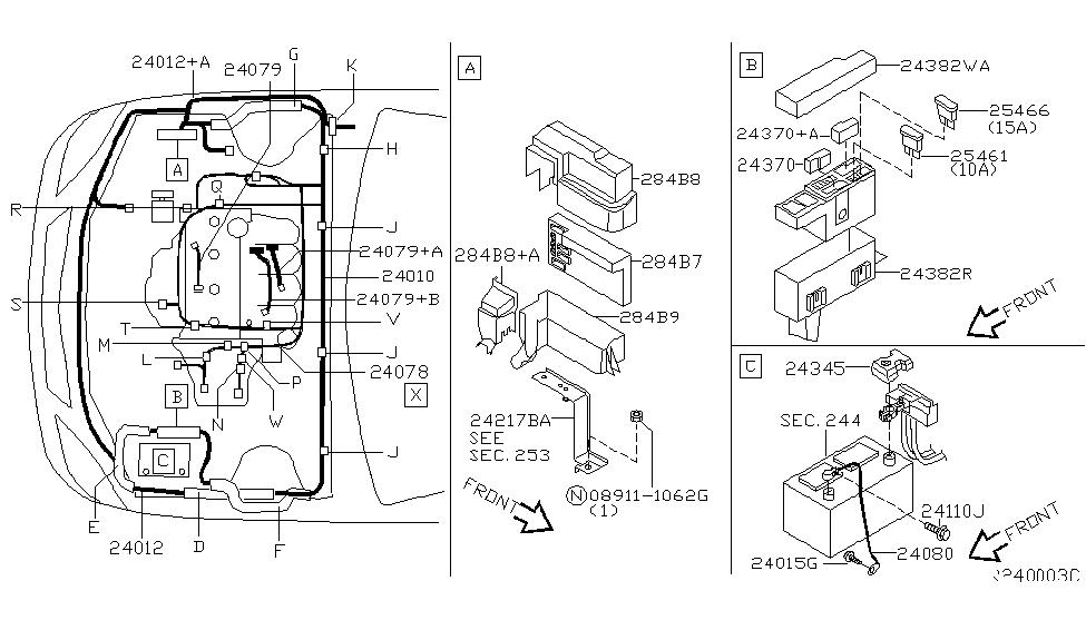 club car pq model battery diagram 24080-8j005 | genuine nissan #240808j005 cable assy ...