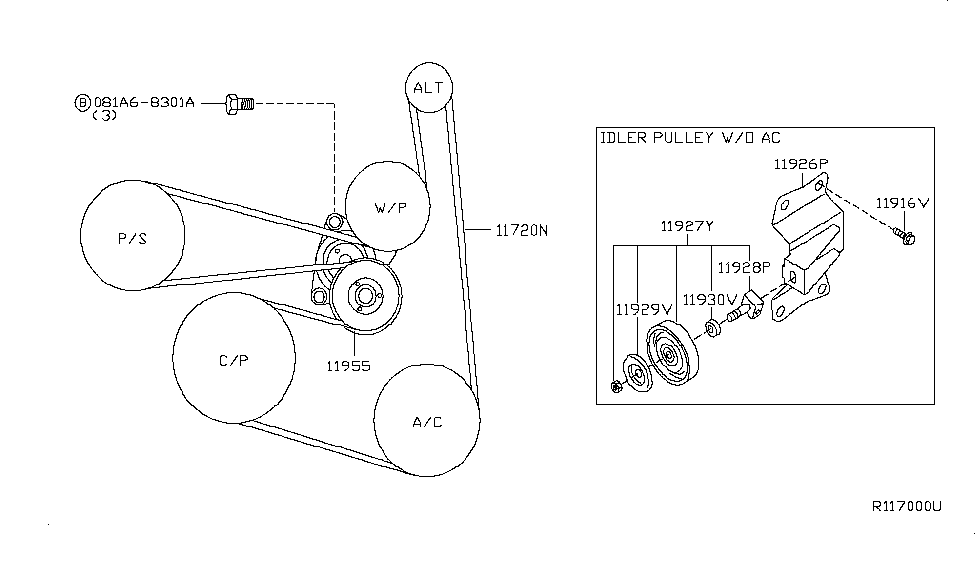 2004 nissan altima serpentine belt diagram 11720 8j000 genuine nissan 117208j000 belt fan alternator  11720 8j000 genuine nissan