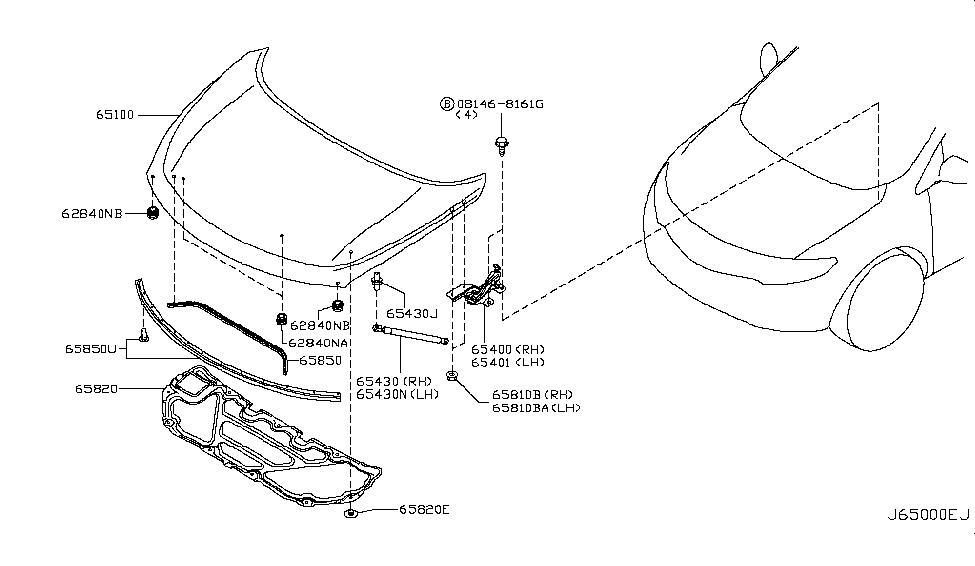 2014 Nissan Murano SUV Hood Panel,Hinge & Fitting
