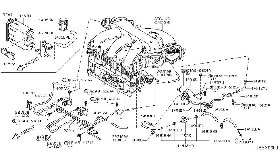 14912-1aa2d   genuine nissan #149121aa2d hose-evapo control  genuine nissan parts