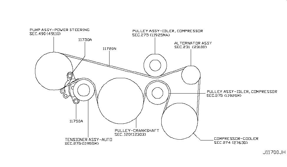 2009 Nissan Murano SUV Fan,Compressor & Power Steering Belt