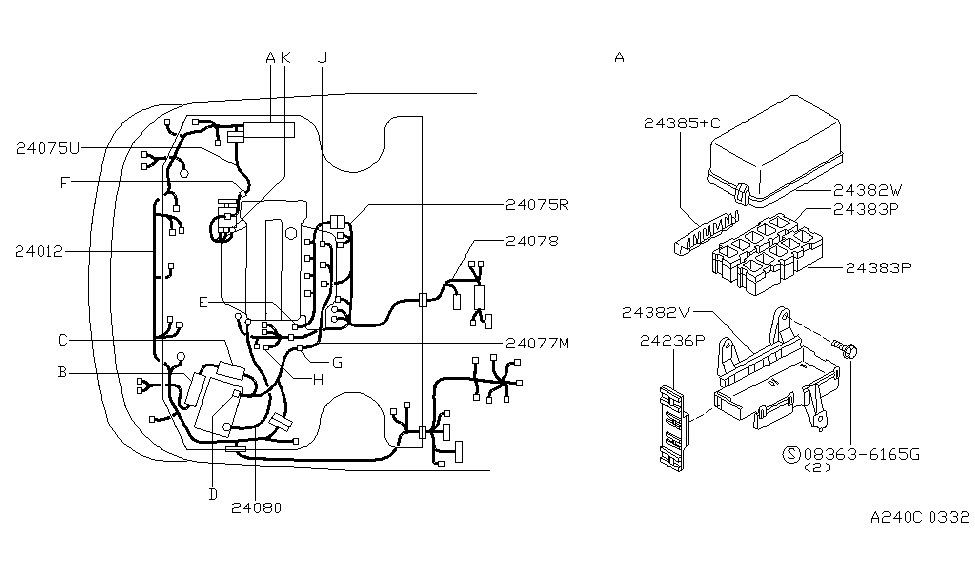 1997 nissan 200sx wiring diagram 24077 8b805 genuine nissan 240778b805 harness assy engine  genuine nissan 240778b805 harness assy