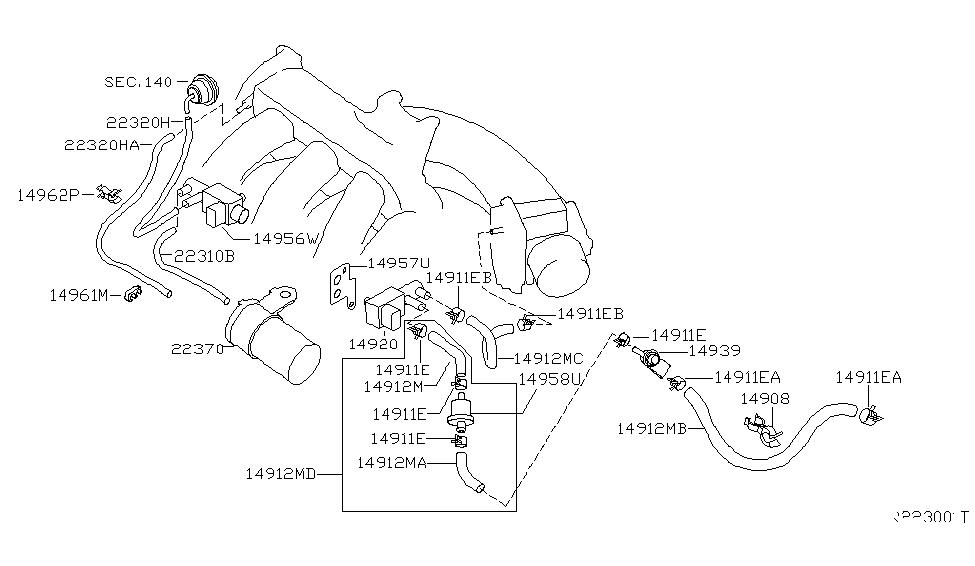 2004 nissan maxima engine control vacuum piping - thumbnail 1