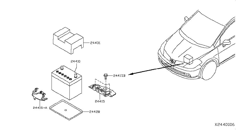 2012 Nissan Versa Hatchback Battery & Battery Mounting