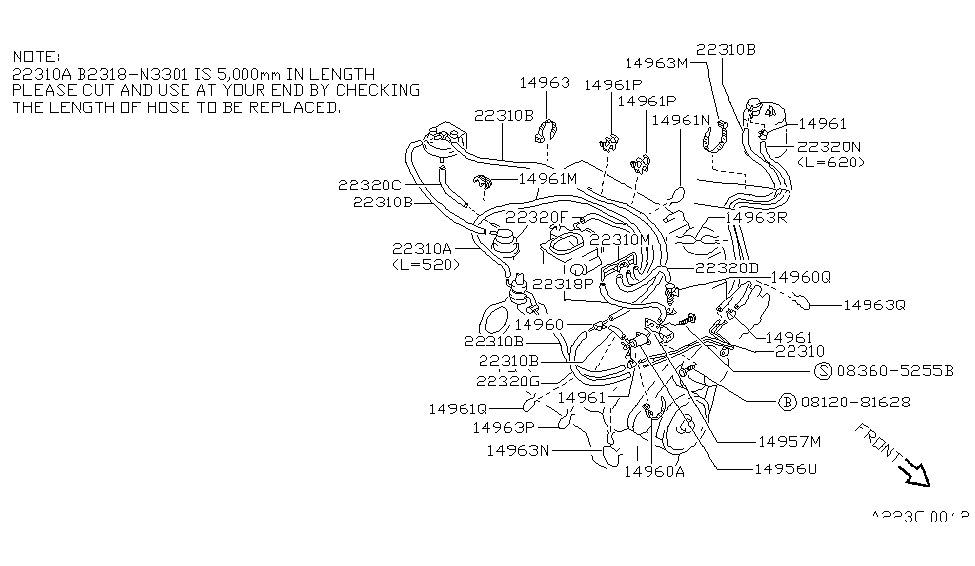 14755-88G01 | Genuine Nissan #1475588G01 HOSE-VACUUM CONTROL,A