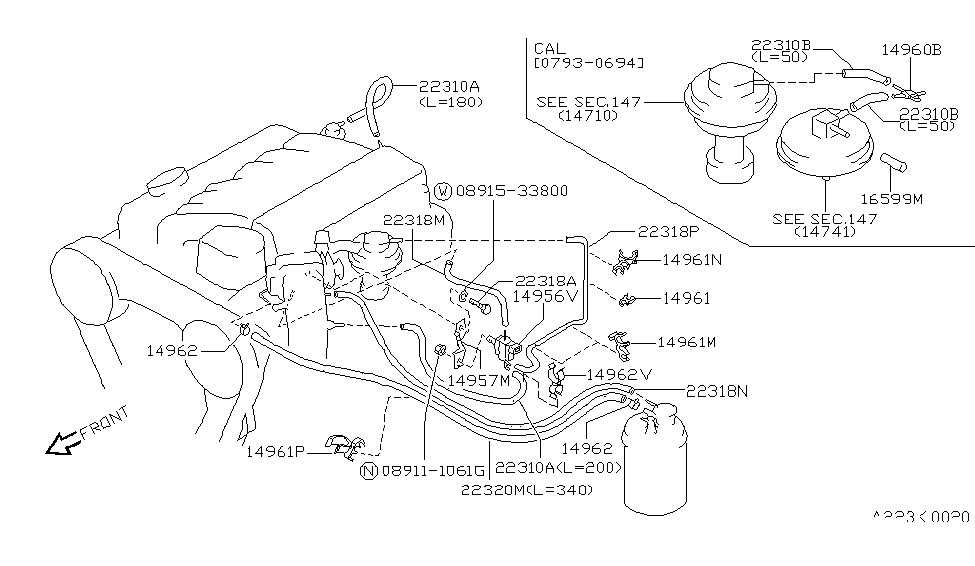 1994 Nissan Pathfinder Engine Control Vacuum Piping