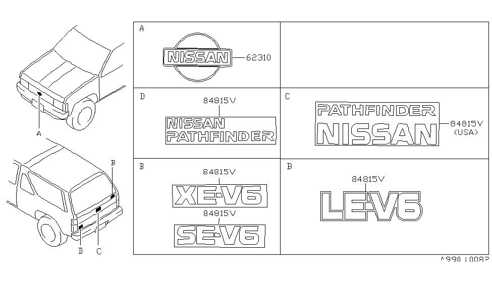 1995 Nissan Pathfinder Emblem & Name Label - Nissan Parts Deal