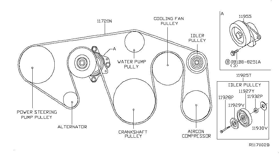 11720 ea200 genuine nissan 11720ea200 belt fan alternator. Black Bedroom Furniture Sets. Home Design Ideas
