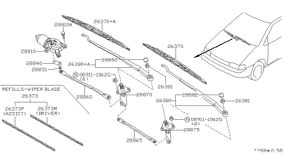 1990 Nissan Axxess Windshield Wiper - Nissan Parts Deal