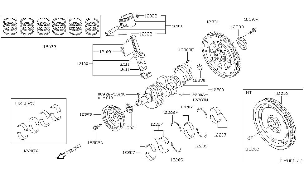 2007 nissan 350z piston,crankshaft & flywheel