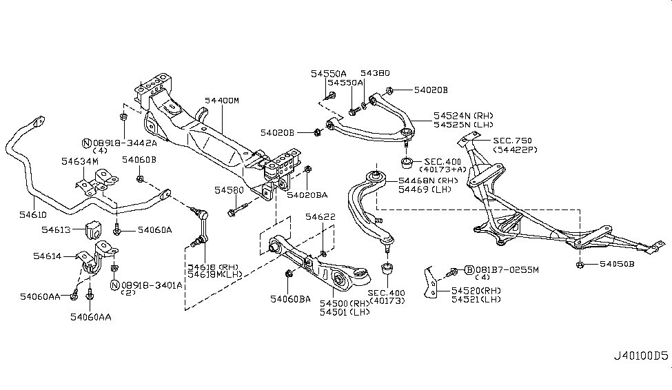 54580 Al500 Genuine Nissan 54580al500 Pin Transverse Link