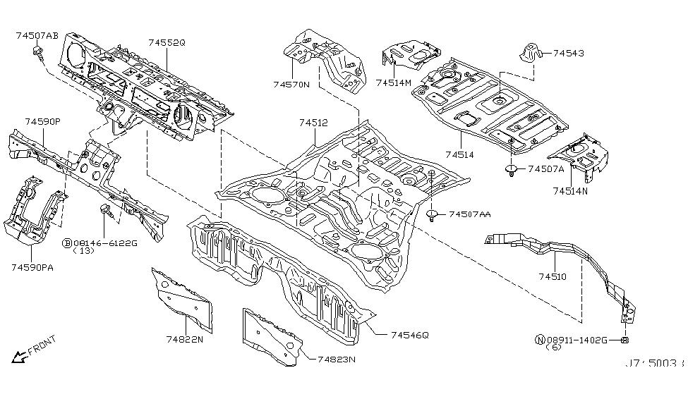 2006 Nissan 350z Floor Panel Rear