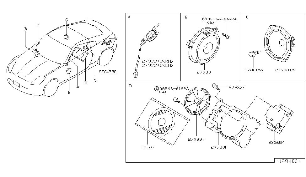28060 cd000 genuine nissan 28060cd000 amp assy speaker. Black Bedroom Furniture Sets. Home Design Ideas