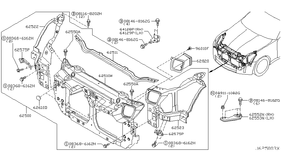 2005 nissan 350z front apron radiator core support rh nissanpartsdeal com 350z engine bay diagram 350z engine parts diagram