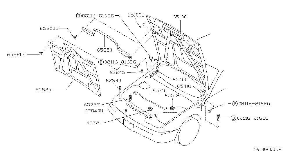 1993 Nissan 240SX Hood Panel,Hinge & Fitting - Nissan Parts Deal