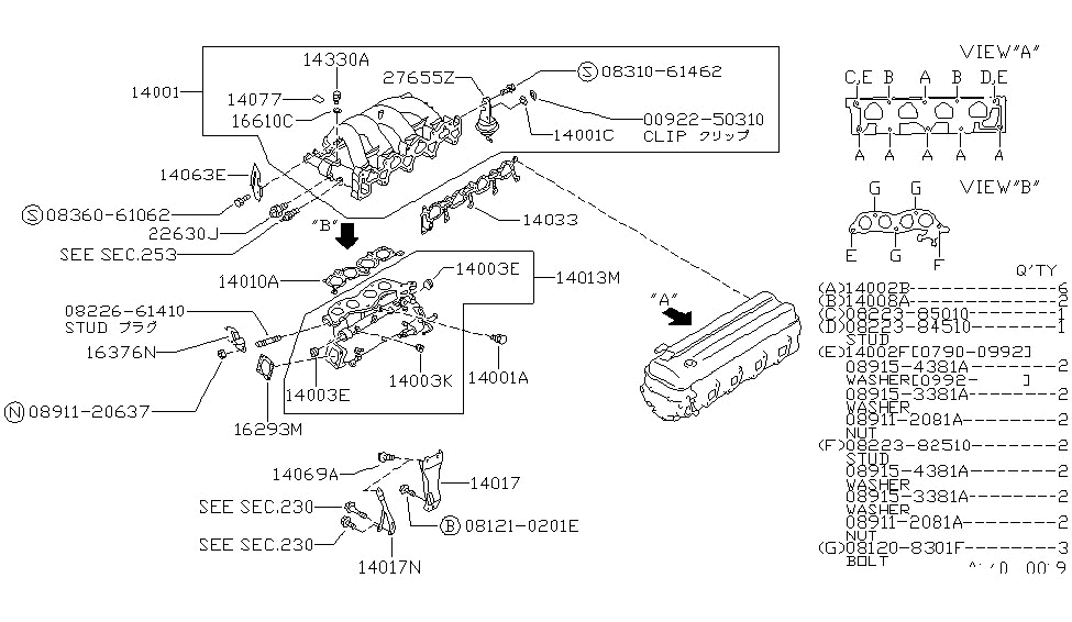 91 nissan 240sx wiring diagram 14018-53f01 | genuine nissan #1401853f01 support-manifold