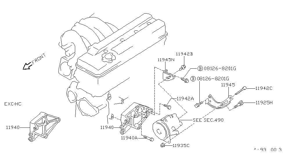 1990 Nissan 240sx Power Steering Pump Mounting