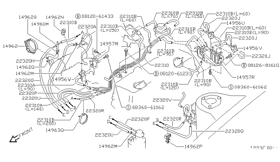 1993 nissan 240sx engine control vacuum piping rh nissanpartsdeal com 240SX Engine Swap KA24DE Diagram