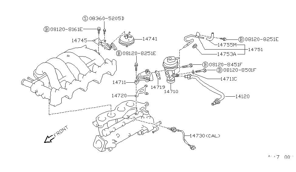 14725-53f00 | genuine nissan #1472553f00 tube assy-egr 240sx exhaust diagram
