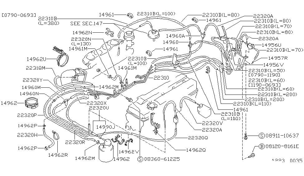 1989 nissan 240sx engine control vacuum piping rh nissanpartsdeal com 1997 Nissan Altima Engine Diagram 97 Nissan Pickup KA24 Engine Diagram
