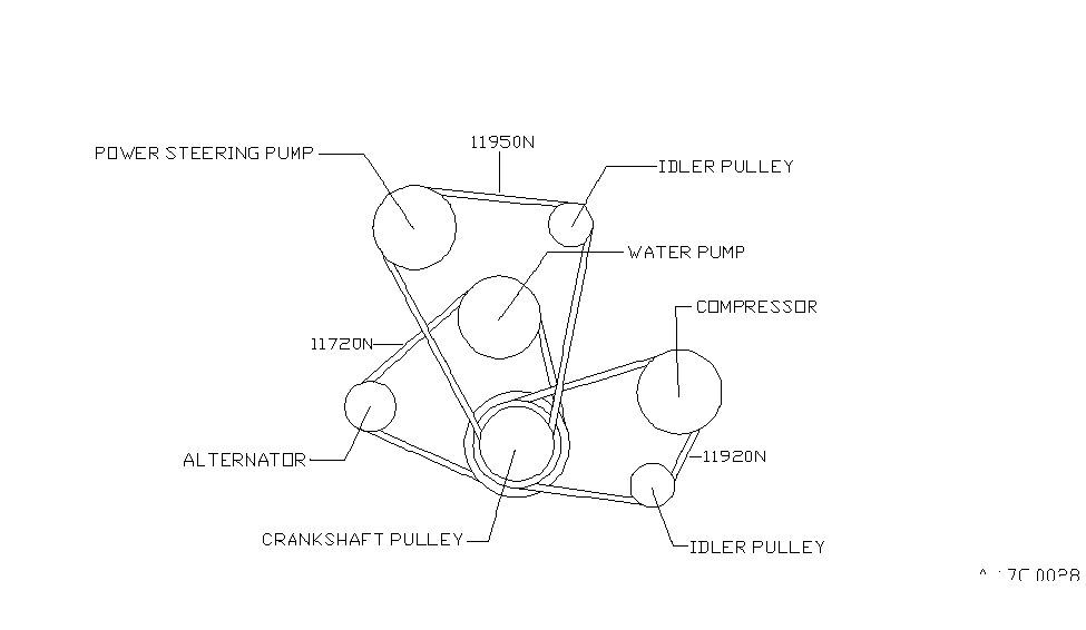 1993 nissan 240sx fan compressor power steering belt rh nissanpartsdeal com F150 Steering Diagram Axle Diagram