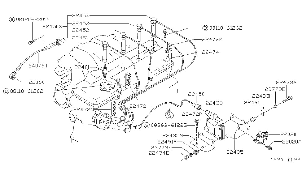 2000 nissan sentra knock sensor location