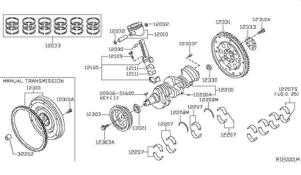 2011 Nissan Xterra Piston,Crankshaft & Flywheel