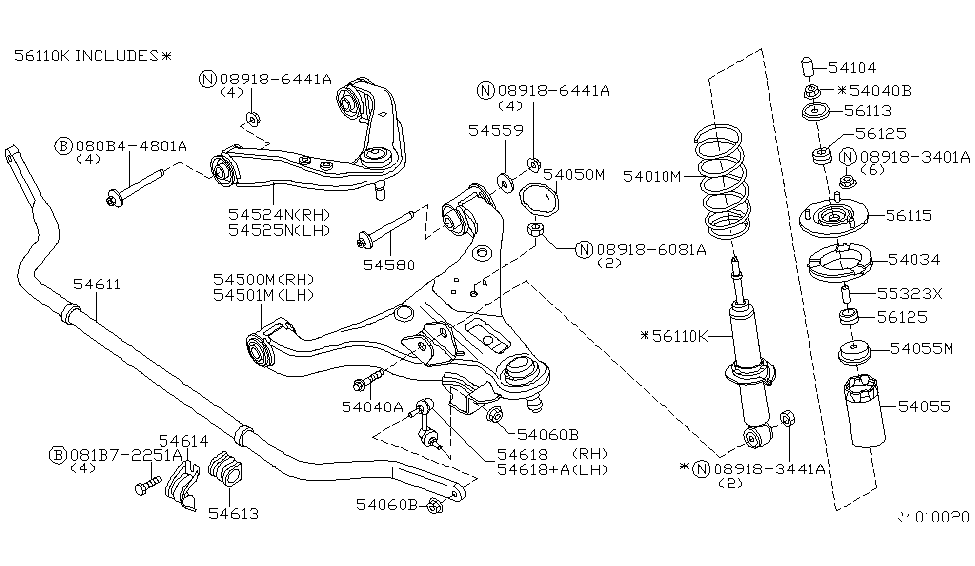 Front Stabilizer Bar Genuine 54611 EA000 for Nissan Xterra Pathfinder Frontier