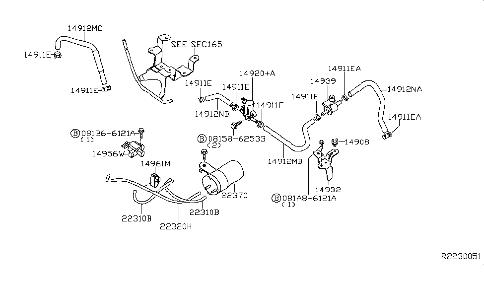 2012 nissan xterra engine control vacuum piping - thumbnail 1
