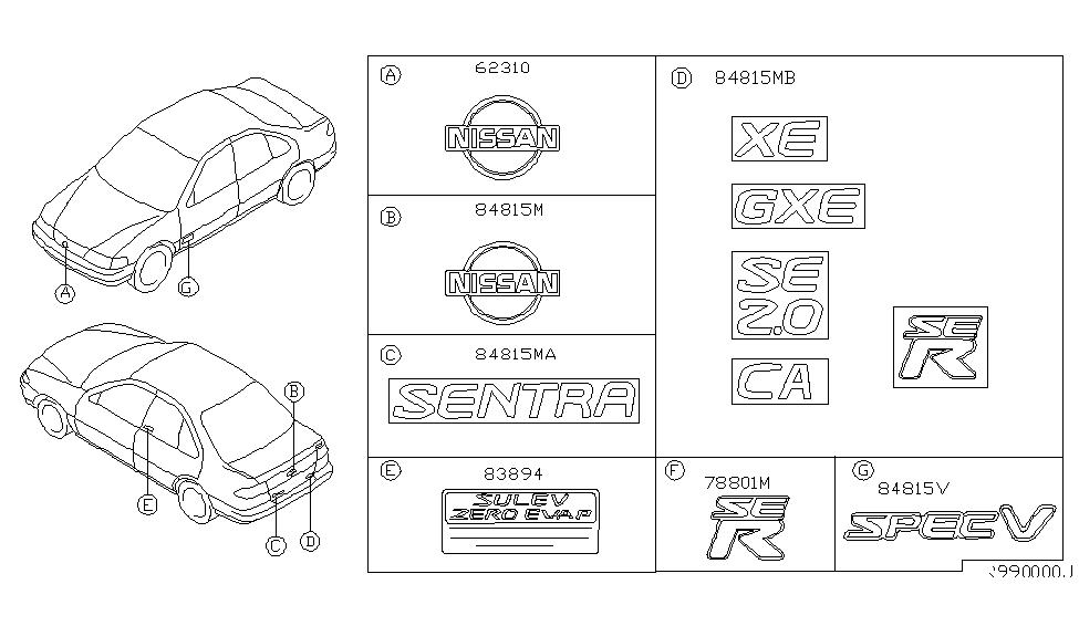 Nissan Genuine 84895-5M000 Emblem
