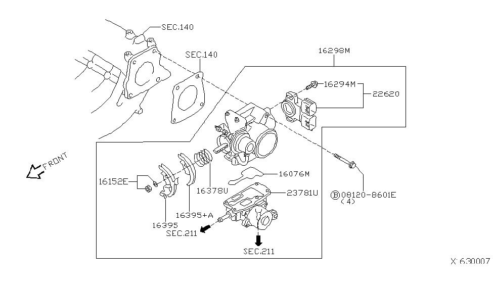 16119 Au00b Genuine Nissan 16119au00b Chamber Assy Throttle