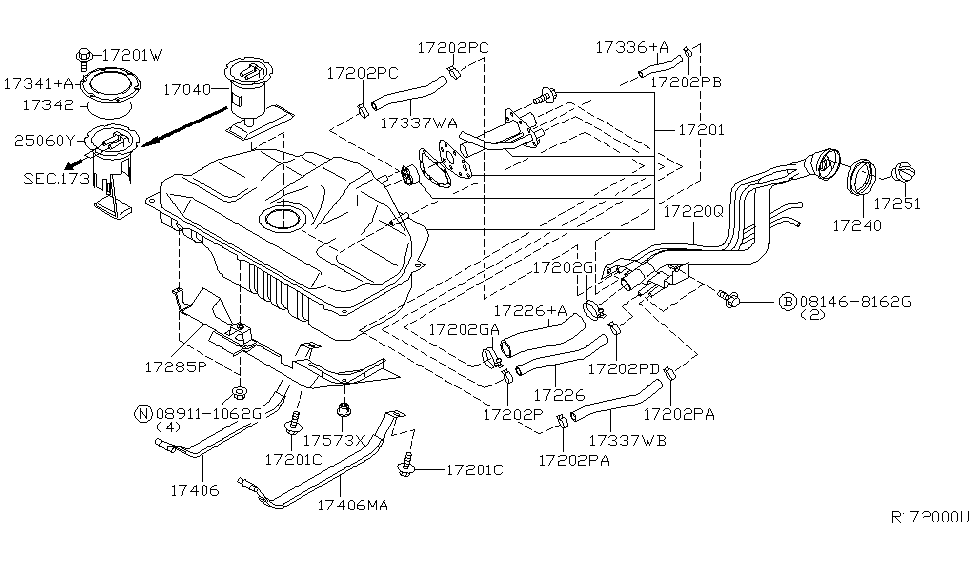 2004 nissan sentra fuel tank - thumbnail 1