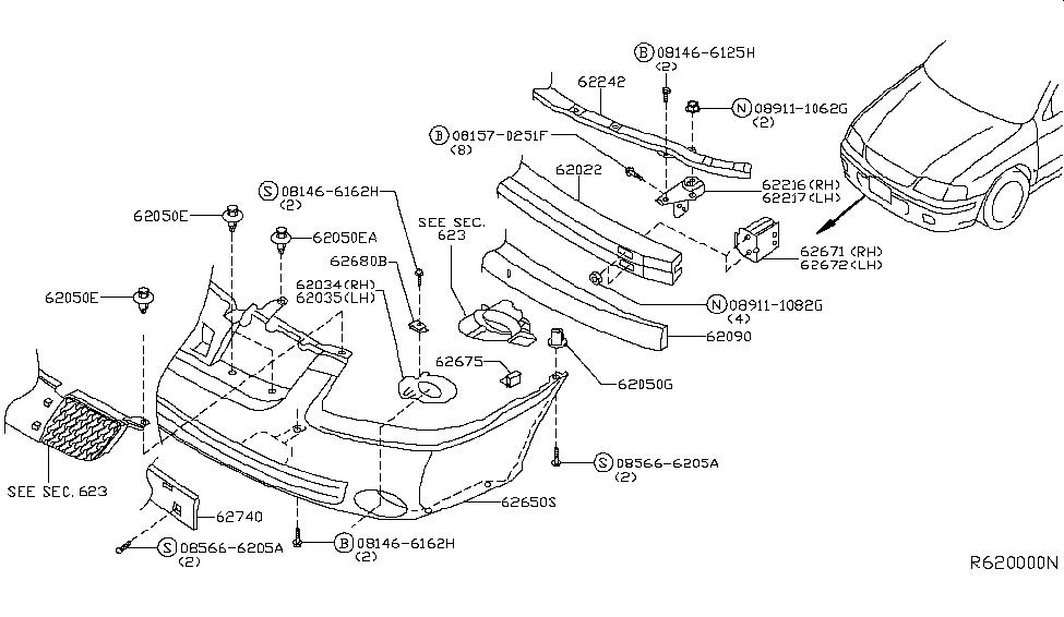 Genuine Nissan Parts 62210-5M000 Passenger Side Front Bumper Bracket