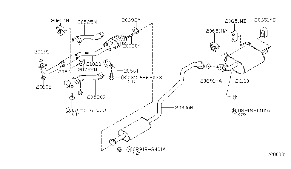 2006 Nissan Sentra Exhaust Tube & Muffler - Nissan Parts Deal