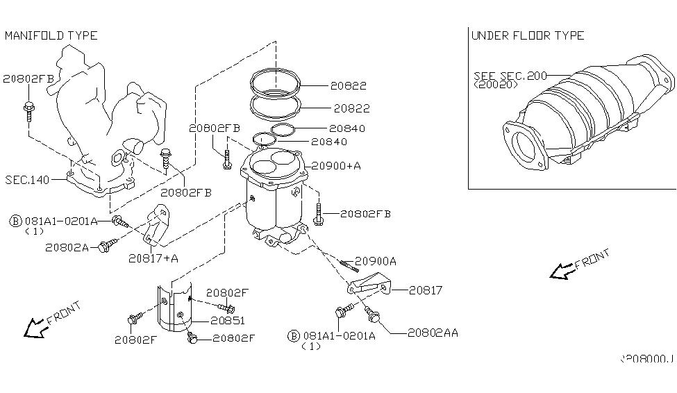 2004 nissan sentra catalyst converter,exhaust fuel & ure in