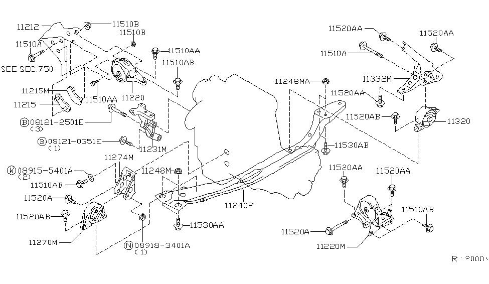 2002 nissan sentra engine transmission mounting rh nissanpartsdeal com
