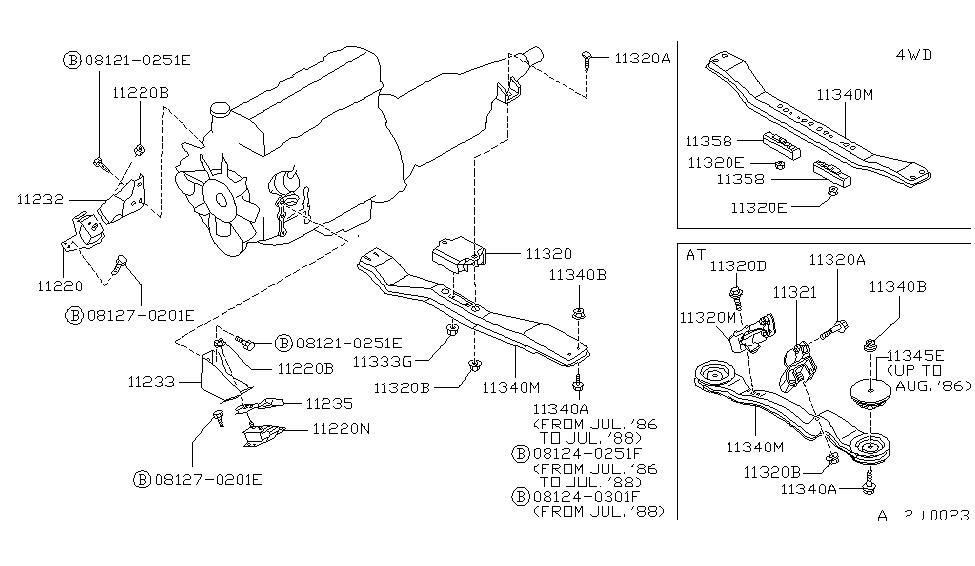 11320-01G00 | Genuine Nissan #1132001G00 INSULATOR-MOUNT REAR