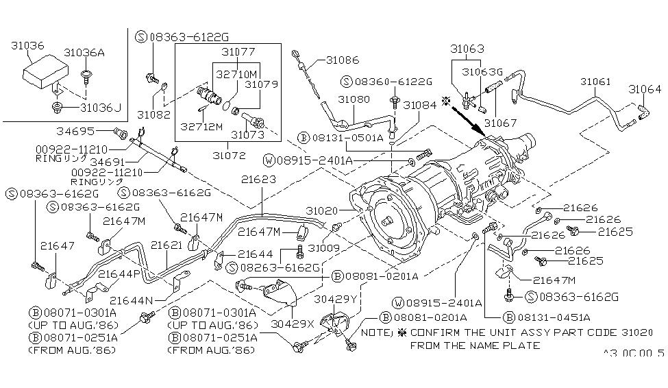31009 21x00 genuine nissan 3100921x00 bolt self lock converter rh nissanpartsdeal com Nissan D21 Automatic Transmission Diagram nissan hardbody transmission parts