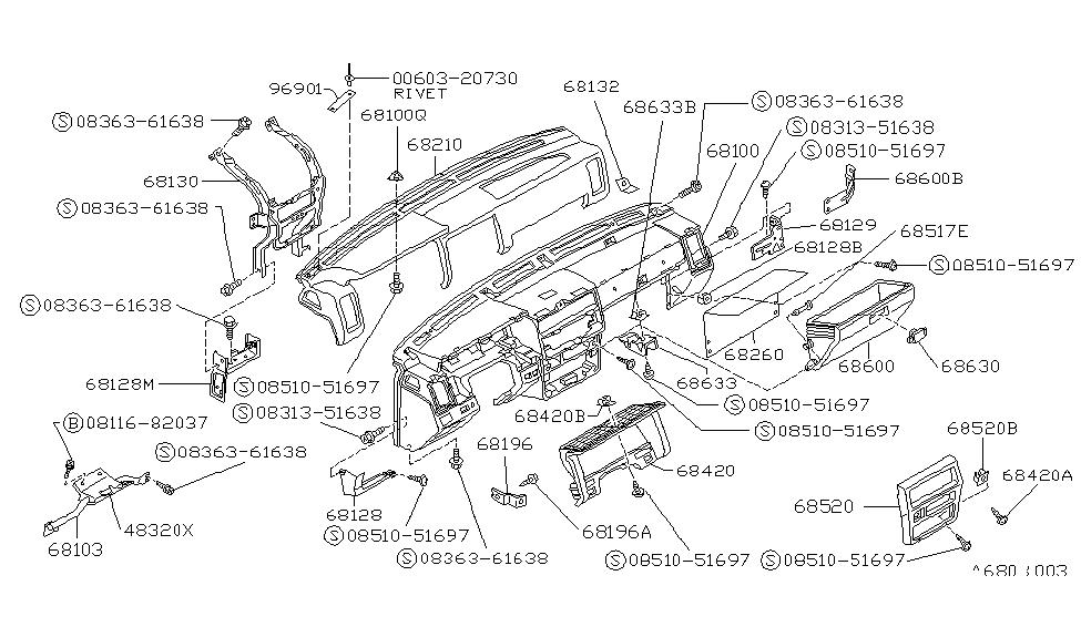 1990 Nissan Hardbody Pickup  D21  Instrument Panel Pad
