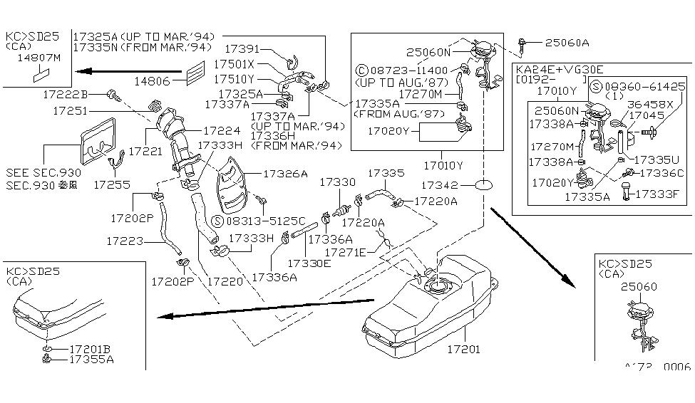 1990 nissan hardbody pickup 1986 5 1994 fuel tank rh nissanpartsdeal com Nissan Pickup Engine Emmision Diagram Nissan Pickup Engine Emmision Diagram