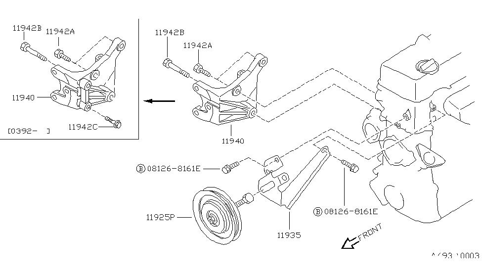 1993 Nissan Hardbody Pickup (D21) Power Steering Pump Mounting