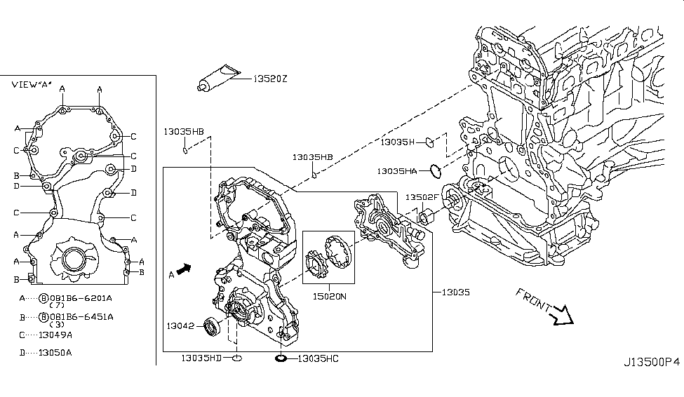 2011 Nissan Rogue Front Cover,Vacuum Pump & Fitting